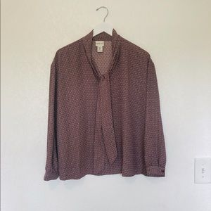 Rachel Zoe Mod Print Neck Tie Blouse